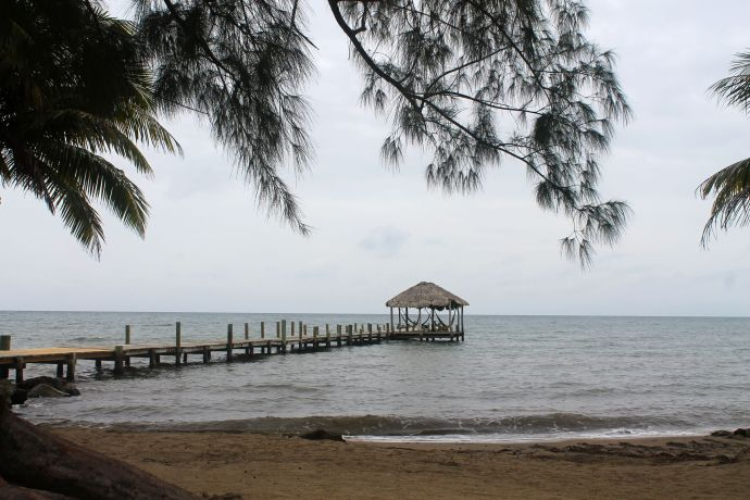 View of the dock at Pelican Beach Resort, Dangriga.