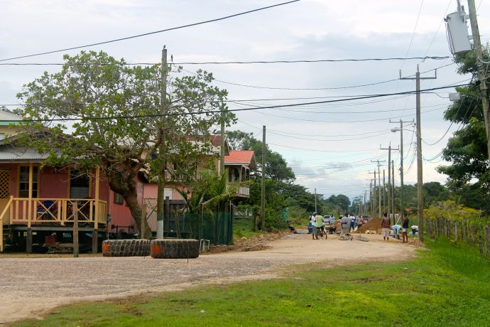 Road construction in Dangriga